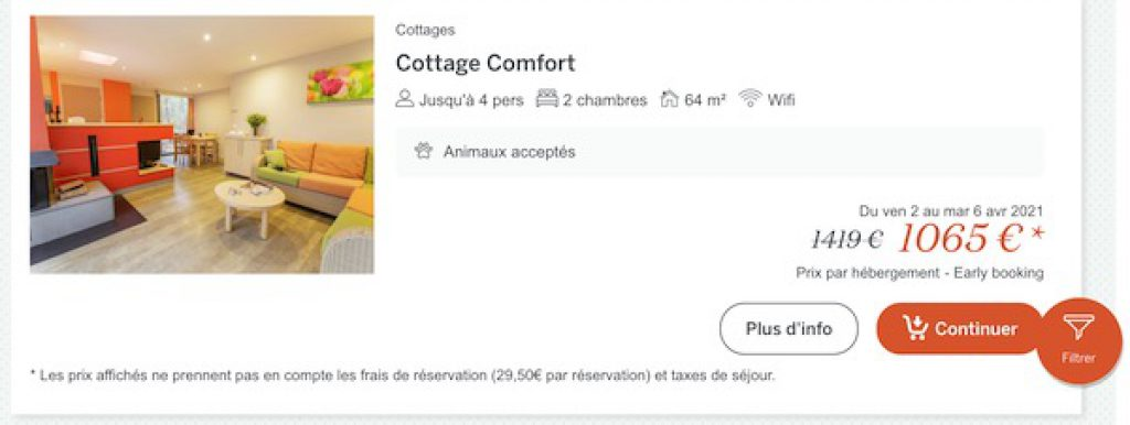 offre reduction center parcs early booking -25%